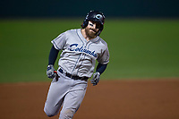 Columbus Clippers catcher Eric Haase (13) rounds the bases after hitting a home run during an International League game against the Indianapolis Indians on April 29, 2019 at Victory Field in Indianapolis, Indiana. Indianapolis defeated Columbus 5-3. (Zachary Lucy/Four Seam Images)