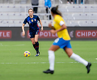 ORLANDO, FL - FEBRUARY 21: Abby Dahlkemper #7 of the USWNT dribbles during a game between Brazil and USWNT at Exploria Stadium on February 21, 2021 in Orlando, Florida.