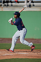 Salem Red Sox first baseman Josh Ockimey (30) at bat during the first game of a doubleheader against the Potomac Nationals on May 13, 2017 at G. Richard Pfitzner Stadium in Woodbridge, Virginia.  Potomac defeated Salem 6-0.  (Mike Janes/Four Seam Images)