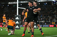 NZ's Will Jordan congratulates Codie Taylor on his try during the Bledisloe Cup rugby match between the New Zealand All Blacks and Australia Wallabies at Eden Park in Auckland, New Zealand on Saturday, 14 August 2021. Photo: Simon Watts / lintottphoto.co.nz / bwmedia.co.nz