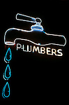 Neon Plumbers sign on Westwood Blvd. in Los Angeles, CA
