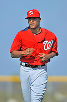 24 February 2012: Washington Nationals' pitcher Edwin Jackson warms up at the Carl Barger Baseball Complex in Viera, Florida. Mandatory Credit: Ed Wolfstein Photo