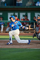 Connor Heady (9) of the Ogden Raptors bats against the Idaho Falls Chukars at Lindquist Field on August 28, 2017 in Ogden, Utah. Ogden defeated Idaho Falls 7-1. (Stephen Smith/Four Seam Images)
