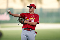 GCL Cardinals Patrick Romeri (16) during warmups before a Gulf Coast League game against the GCL Astros on August 11, 2019 at Roger Dean Stadium Complex in Jupiter, Florida.  GCL Cardinals defeated the GCL Astros 2-1.  (Mike Janes/Four Seam Images)