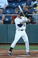 Everett Aquasox outfielder James Wood #28 bats against the Tri-City Dust Devils at Everett Memorial Stadium on August 12, 2011 in Everett,Washington. Tri-City defeated Everett 8-5.(Larry Goren/Four Seam Images)
