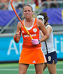 The Hague, Netherlands, June 09: Maartje Paumen #17 of The Netherlands celebrates after scoring a penalty corner (3-0) during the field hockey group match (Women - Group A) between The Netherlands and Korea on June 9, 2014 during the World Cup 2014 at Kyocera Stadium in The Hague, Netherlands. Final score 3-0 (1-0)  (Photo by Dirk Markgraf / www.265-images.com) *** Local caption ***