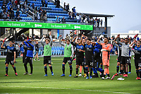 SAN JOSE, CA - FEBRUARY 29: San Jose Earthquakes salute the fans during a game between Toronto FC and San Jose Earthquakes at Earthquakes Stadium on February 29, 2020 in San Jose, California.