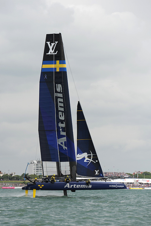 Artemis Racing foils during day two of the Louis Vuitton America's Cup World Series racing, Portsmouth, United Kingdom. (Photo by Rob Munro/Stewart Communications)