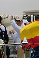 D.Juan Carlos I King of Spain. TELEFONICA BLUE RACING TEAM .VOLVO OCEAN RACE 2008-2009 start in Alicante, Spain, 11/10/2008