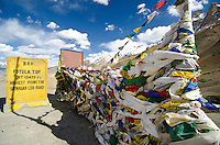Prayer flags at Fotu La the highest point of the Srinagar to Leh road, 13,479 ft. Kasmir/Ladakh, India.