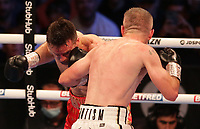 9th October 2021; M&S Bank Arena, Liverpool, England; Matchroom Boxing, Liam Smith versus Anthony Fowler; LIAM SMITH (Liverpool, England)backs up ANTHONY FOWLER (Liverpool, England) during their WBA International Super-Welterweight Title contest