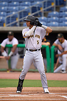 Bradenton Marauders designated hitter Endy Rodriguez (5) bats during a game against the Dunedin Blue Jays on May 13, 2021 at BayCare Ballpark in Clearwater, Florida.  (Mike Janes/Four Seam Images)