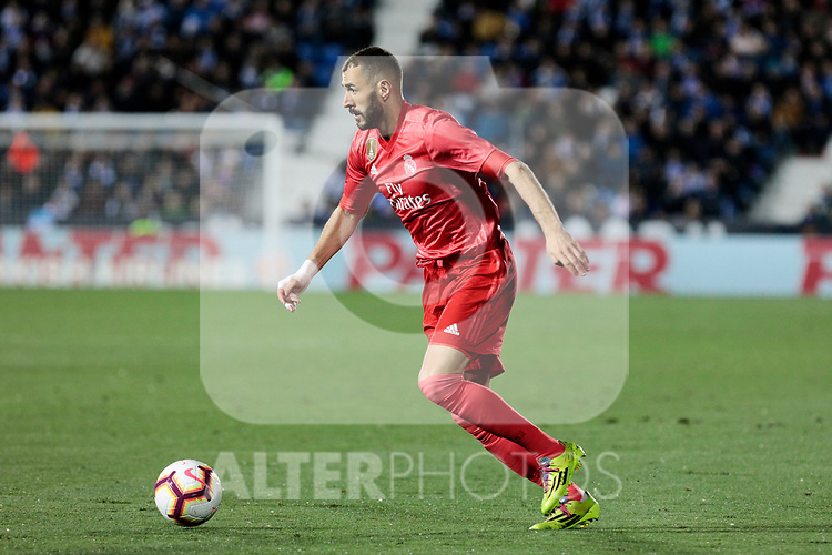 Real Madrid's Karim Benzema during La Liga match between CD Leganes and Real Madrid at Butarque Stadium in Leganes, Spain. April 15, 2019. (ALTERPHOTOS/A. Perez Meca)