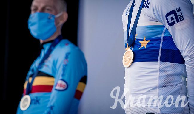 Eli Iserbyt (BEL/Pauwels Sauzen-Bingoal) being crowned the new European Champion<br /> <br /> UEC Cyclocross European Championships 2020 - 's-Hertogenbosch (NED)<br /> <br /> Elite MEN<br /> <br /> ©kramon