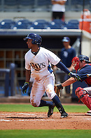 GCL Rays designated hitter Garrett Whitley (20) at bat during the second game of a doubleheader against the GCL Red Sox on August 4, 2015 at Charlotte Sports Park in Port Charlotte, Florida.  GCL Red Sox defeated the GCL Rays 2-1.  (Mike Janes/Four Seam Images)