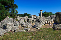 Temple of Zeus monument (470-457 B.C.) in Olympia, Greece