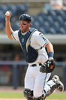 West Michigan Michigan Whitecaps catcher Drew Longley (14) chases down a Fort Wayne TinCaps baserunner during the Midwest League baseball game on April 26, 2017 at Fifth Third Ballpark in Comstock Park, Michigan. West Michigan defeated Fort Wayne 8-2. (Andrew Woolley/Four Seam Images)