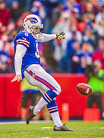9 November 2014: Buffalo Bills punter Colton Schmidt kicks to the Kansas City Chiefs in the second quarter at Ralph Wilson Stadium in Orchard Park, NY. The Chiefs rallied with two fourth quarter touchdowns to defeat the Bills 17-13. Mandatory Credit: Ed Wolfstein Photo *** RAW (NEF) Image File Available ***