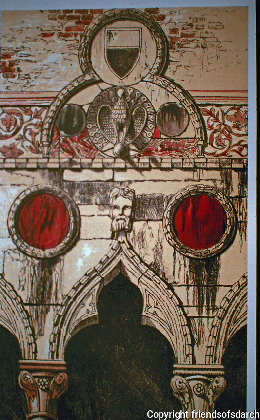 John Ruskin's  Decoration by Disks: Palazzo dei Badoari Partecipazzi, 1851, Vol. 1 of The Stones of Venice. Finial above the point of the arch.
