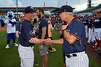 Tampa Yankees manager Jay Bell shakes hands with pitcher Andrew Schwaab (34) after proposing to his girlfriend before the Florida State League All-Star Game on June 17, 2017 at Joker Marchant Stadium in Lakeland, Florida.  FSL North All-Stars defeated the FSL South All-Stars  5-2.  (Mike Janes/Four Seam Images)