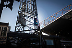 Bradford City 3, Carlisle United 1, 21/09/2019. Valley Parade, EFL League 2. The mysterious traffic lights on the floodlight pylon pictured during the first-half as Bradford City played Carlisle United in a Skybet League 2 fixture at Valley Parade. The home team were looking to bounce back after being relegated during a disastrous 2018-19 season on and off the pitch. Bradford won the match 3-1, watched by a crowd of 14, 217. Photo by Colin McPherson.