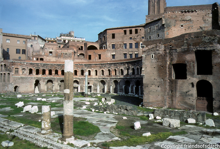 Italy: Rome--Trajan's Market, Exedra. Curvilinear walls, said to have influenced Bernini Design by Apollodorus of Damascus. Photo '82.