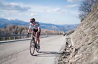 Tadej Pogačar (SVN/UAE-Emirates) attacking succesfully up the final climb towards the finish up Prati di Tivo<br /> <br /> Stage 4 from Terni to Prati di Tivo (148km)<br /> <br /> 56th Tirreno-Adriatico 2021 (2.UWT) <br /> <br /> ©kramon