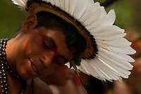 Os Jogos dos Povos Indígenas (JPI) chegam a sua décima edição. Neste ano 2009, que acontecem entre os dias 31 de outubro e 07 de novembro. A data escolhida obedece ao calendário lunar indígena. com participação  cerca de 1300 indígenas, de aproximadamente 35 etnias, vindas de todas as regiões brasileiras. <br /> Paragominas , Pará, Brasil.<br /> Foto Paulo Santos<br /> 05/11/2009