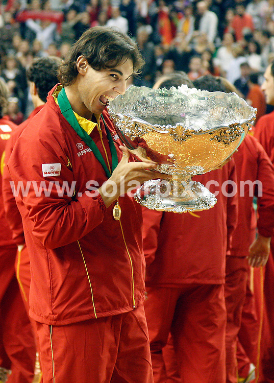**ALL-ROUND PICTURES FROM SOLARPIX.COM**.**WORLD SYNDICATION RIGHTS EXCEPT BELGIUM, GERMANY, HOLLAND, SCANDINAVIA, SOUTH AMERICA, SPAIN, & USA**.Spain clinches its fourth Davis cup Tennis Title in Barcelona Spain..Rafael Nadal recorded victory overJan Hajek to give Spain a 4-0 lead. Five-set thriller closes perfect day for Spain David Ferrer posted anextraordinary comeback to defeat Radek Stepanek in five sets...This pic: David Ferrer..JOB REF:10351      SKX      DATE:  06.12.09.**MUST CREDIT SOLARPIX.COM OR DOUBLE FEE WILL BE CHARGED**.**MUST NOTIFY SOLARPIX OF ONLINE USAGE**.**CALL US ON: +34 952 811 768 or LOW RATE FROM UK 0844 617 7637**