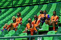 PALMIRA - COLOMBIA, 20-10-2020: Deportivo Cali y Atlético Junior en partido por la fecha 1 de la Liga Femenina BetPlay DIMAYOR 2020 jugado en el estadio Deportivo Cali de la ciudad de Palmira. / Deportivo Cali and Atletico Junior in match for the date 1 as part of Women's BetPlay DIMAYOR League 2020 played at Deportivo Cali stadium in Palmira city.  Photo: VizzorImage / Nelson Rios / Cont
