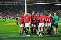 The Lions huddle as Jordie Barrett prepares to take a conversion during the 2017 DHL Lions Series rugby match between the Hurricanes and British & Irish Lions at Westpac Stadium in Wellington, New Zealand on Tuesday, 27 June 2017. Photo: Dave Lintott / lintottphoto.co.nz