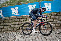 Gianni Moscon (ITA/Ineos Grenadiers) is the first rider up the Kapelmuur / Muur van Geraardsbergen<br /> <br /> 76th Omloop Het Nieuwsblad 2021<br /> ME(1.UWT)<br /> 1 day race from Ghent to Ninove (BEL): 200km<br /> <br /> ©kramon