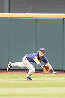 Michigan Wolverines outfielder Jesse Franklin (7) attempts to make a diving catch during Game 6 of the NCAA College World Series against the Florida State Seminoles on June 17, 2019 at TD Ameritrade Park in Omaha, Nebraska. Michigan defeated Florida State 2-0. (Andrew Woolley/Four Seam Images)