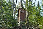 """Appalachian Trail - """"Penta Privy"""" at Hexacuba Shelter (a six-sided hexagonal shelter) on the south side of Mt. Cube just off the Kodak Trail (AT) in Orford, New Hampshire."""