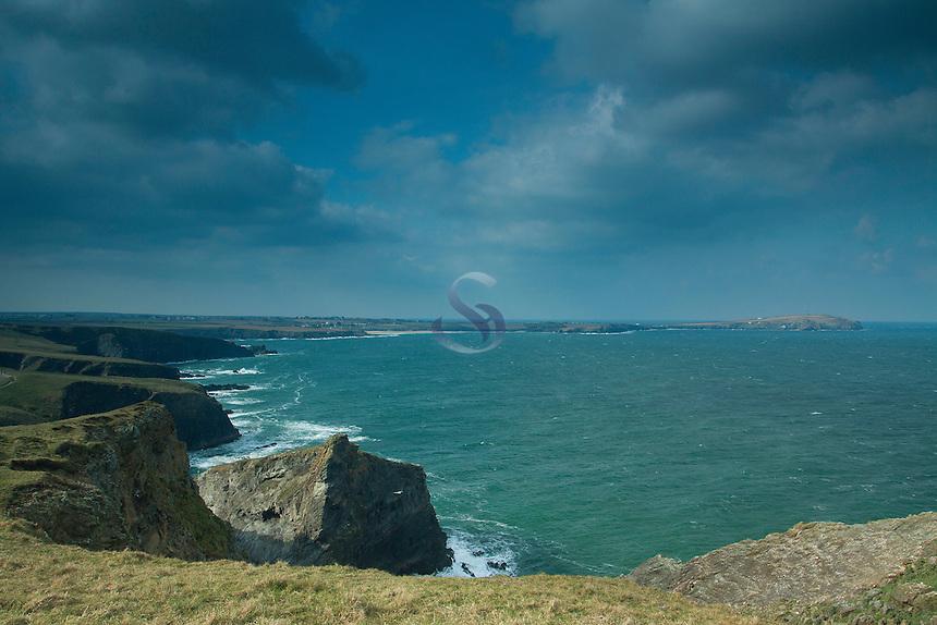 Trevose Head from the cliffs at Porthmisson Bridge near Padstow, Cornwall