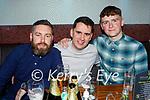 Enjoying the evening in Tatler Jacks in Killarney on Saturday, l to r: Shane O'Mahoney, Stephen O'Leary and Mark Cummins from Killarney).