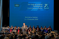 Opening Ceremony of the XXI Center Jacques Cartier Meetings, speech by Jean Charest, Octgober 2008<br /> <br /> <br /> PHOTO :  Agence Quebec presse