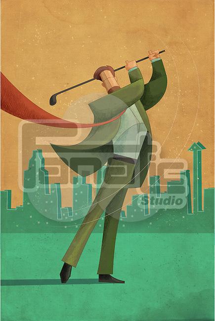 Illustrative image of businessman holding golf stick representing victory