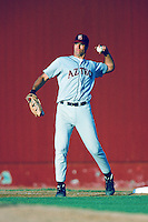 Travis Lee of the San Diego State Aztecs throws before a 1996 NCAA baseball season game against the USC Trojans at Dedeaux Field in Los Angeles, California. (Larry Goren/Four Seam Images)