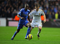Saturday, 03 November 2012<br /> Pictured: Ben Davies of Swansea (R) against Ramires of Chelsea (L)<br /> Re: Barclays Premier League, Swansea City FC v Chelsea at the Liberty Stadium, south Wales.