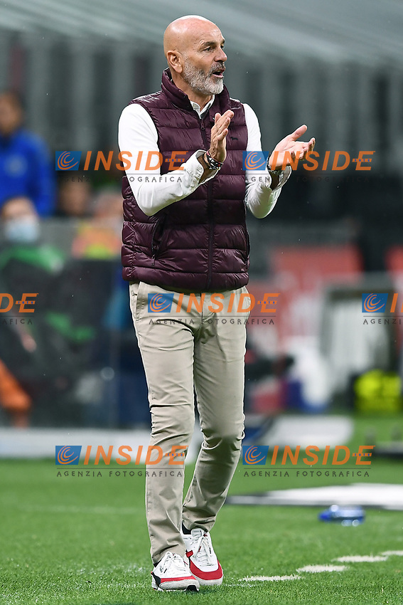 Stefano Pioli of AC Milan reacts during the Serie A football match between AC Milan and Spezia Calcio at San Siro Stadium in Milano  (Italy), October 4th, 2020. Photo Image Sport / Insidefoto