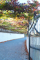 gate and entrance road quinta do noval douro portugal