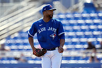 Toronto Blue Jays pitcher Francisco Liriano (45) during a Major League Spring Training game against the Pittsburgh Pirates on March 1, 2021 at TD Ballpark in Dunedin, Florida.  (Mike Janes/Four Seam Images)