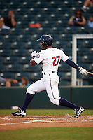 Fort Myers Miracle left fielder Edgar Corcino (27) at bat during a game against the Brevard County Manatees on April 13, 2016 at Hammond Stadium in Fort Myers, Florida.  Fort Myers defeated Brevard County 3-0.  (Mike Janes/Four Seam Images)