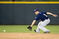 New Orleans Zephyrs shortstop Nick Green (1) fields a ground ball during the Pacific Coast League baseball game against the Round Rock Express on June 30, 2013 at the Dell Diamond in Round Rock, Texas. Round Rock defeated New Orleans 5-1. (Andrew Woolley/Four Seam Images)