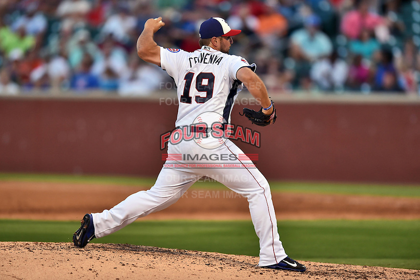Tennessee Smokies pitcher Hunter Cervenka #19 delivers a pitch during the Southern League All Star game at AT&T Field on June 17, 2014 in Chattanooga, Tennessee. The Southern Division defeated the Northern Division 6-4. (Tony Farlow/Four Seam Images)