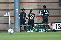 David Worrall of Port Vale scores the first goal for his team and celebrates during Leyton Orient vs Port Vale, Sky Bet EFL League 2 Football at The Breyer Group Stadium on 20th February 2021