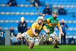 Maurice O'Connor, Kerry in action against Paddy Burke, Antrim during the Joe McDonagh Cup Final match between Kerry and Antrim at Croke Park in Dublin.