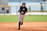 FCL Yankees Trey Sweeney (33) rounds the bases after hitting his first professional home run during a game against the FCL Tigers West on July 31, 2021 at Tigertown in Lakeland, Florida.  (Mike Janes/Four Seam Images)