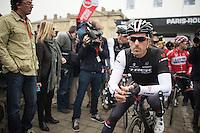 Fabian Cancellara (CHE/TrekFactoryRacing) concentrated at the start<br /> <br /> Paris - Roubaux 2014
